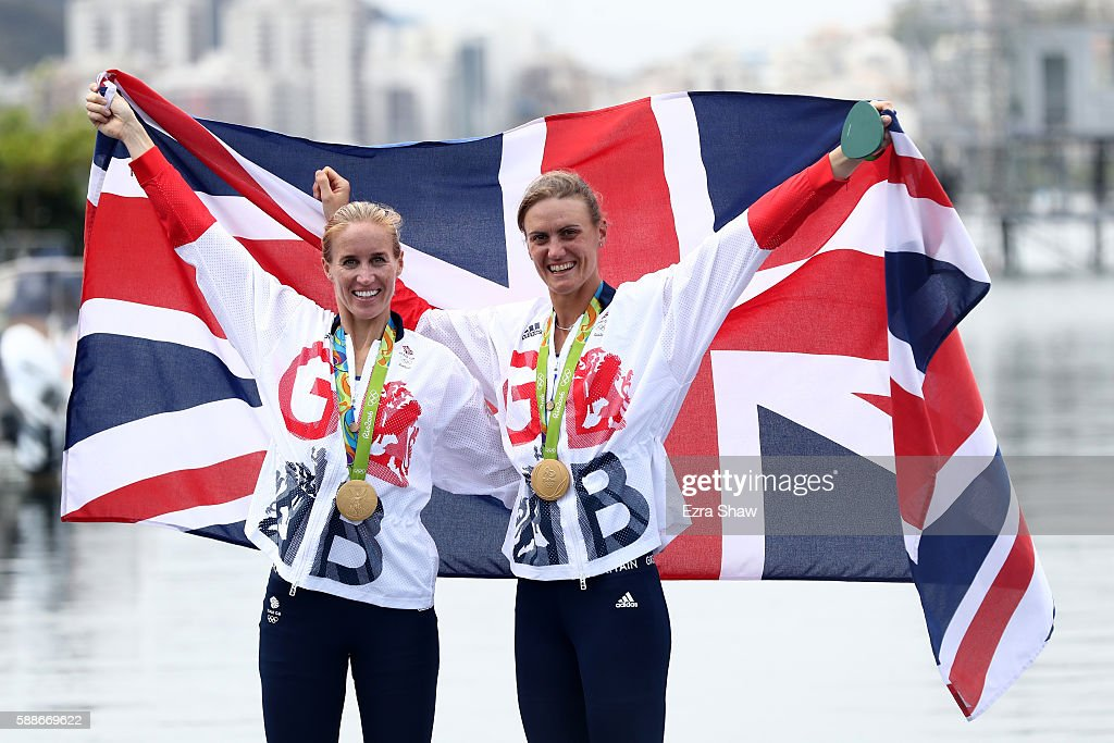 Gold medalists Helen Glover and Heather Stanning of Great Britain pose for photographs after the medal ceremony for the Women's Pair on Day 7 of the...