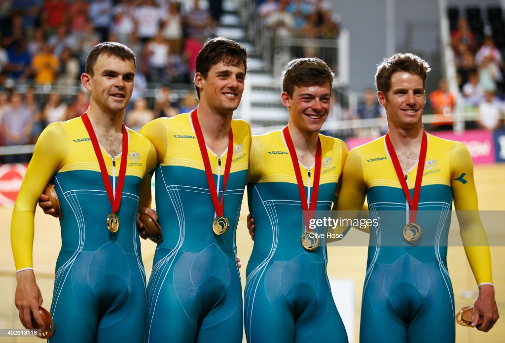 Gold medalists <a gi-track='captionPersonalityLinkClicked' href=/galleries/search?phrase=Jack+Bobridge&family=editorial&specificpeople=4167089 ng-click='$event.stopPropagation()'>Jack Bobridge</a>, <a gi-track='captionPersonalityLinkClicked' href=/galleries/search?phrase=Luke+Davison+-+Cyclist&family=editorial&specificpeople=15277180 ng-click='$event.stopPropagation()'>Luke Davison</a>, <a gi-track='captionPersonalityLinkClicked' href=/galleries/search?phrase=Alex+Edmondson&family=editorial&specificpeople=9074795 ng-click='$event.stopPropagation()'>Alex Edmondson</a> and <a gi-track='captionPersonalityLinkClicked' href=/galleries/search?phrase=Glenn+O%27Shea&family=editorial&specificpeople=4947299 ng-click='$event.stopPropagation()'>Glenn O'Shea</a> of Australia look on during the medal ceremony for the Men's 4000 metres Team Pursuit final at Sir Chris Hoy Velodrome during day one of the Glasgow 2014 Commonwealth Games on July 24, 2014 in Glasgow, Scotland.