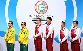Gold medalists Jack Laugher and Chris Mears of England pose with Silver medalists Matthew Mitcham and Grant Nel of Australia and Bronze medalists...