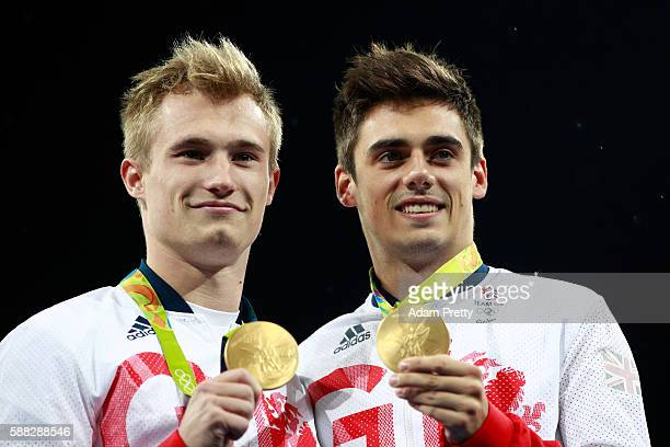 Gold medalists Jack Laugher and Chris Mears of Great Britain pose during the medal ceremony for the Men's Diving Synchronised 3m Springboard Final on...