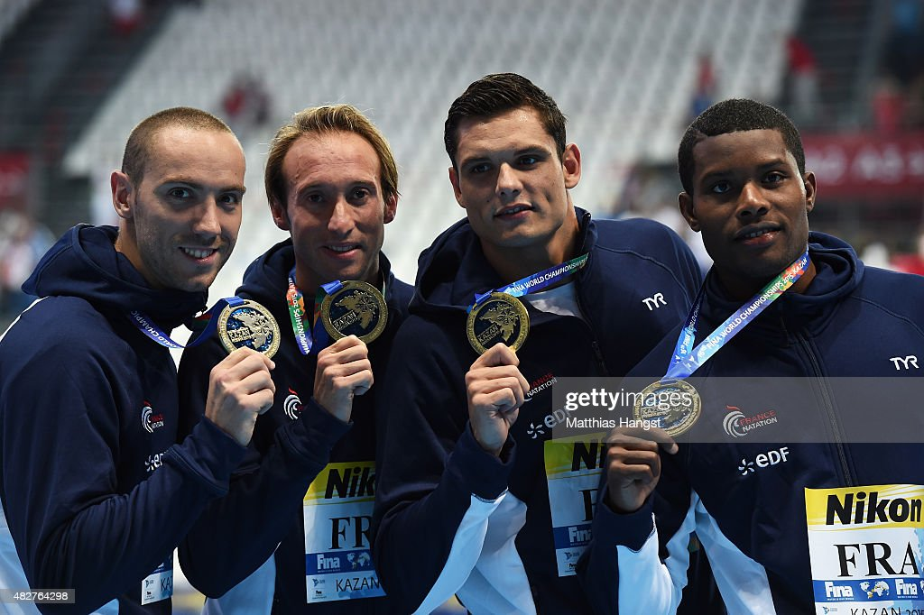 Gold medalists <a gi-track='captionPersonalityLinkClicked' href=/galleries/search?phrase=Jeremy+Stravius&family=editorial&specificpeople=5944687 ng-click='$event.stopPropagation()'>Jeremy Stravius</a>, <a gi-track='captionPersonalityLinkClicked' href=/galleries/search?phrase=Fabien+Gilot&family=editorial&specificpeople=961879 ng-click='$event.stopPropagation()'>Fabien Gilot</a>, <a gi-track='captionPersonalityLinkClicked' href=/galleries/search?phrase=Florent+Manaudou&family=editorial&specificpeople=6567518 ng-click='$event.stopPropagation()'>Florent Manaudou</a> and Mehdy Metella of France poses during the medal ceremony for the Men's 4x100m Freestyle Relay on day nine of the 16th FINA World Championships at the Kazan Arena on August 2, 2015 in Kazan, Russia.