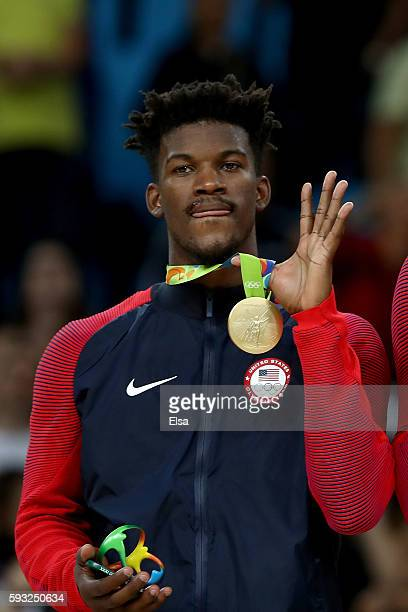 Gold medalists Jimmy Butler stands on the podium after defeating Serbia in the Men's Gold medal game on Day 16 of the Rio 2016 Olympic Games at...