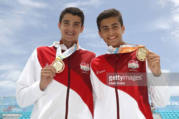 Gold medalists Joaquin Bello and Javier Bello of England pose after the medal ceremony for the boy's beach volleyball on day 5 of the 2017 Youth...