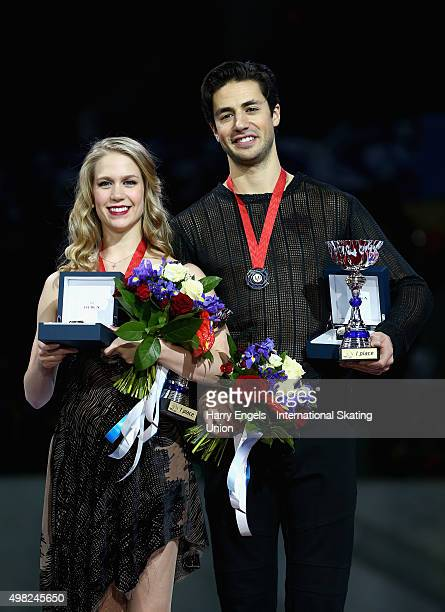 Gold medalists Kaitlyn Weaver and Andrew Poje of Canada pose with their medals following the Ice Dance Final on day three of the Rostelecom Cup ISU...