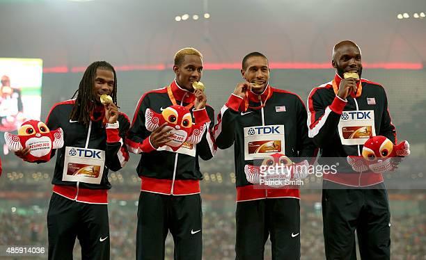Gold medalists Lashawn Merritt of the United States Bryshon Nellum of the United States Tony McQuay of the United States and David Verburg of the...