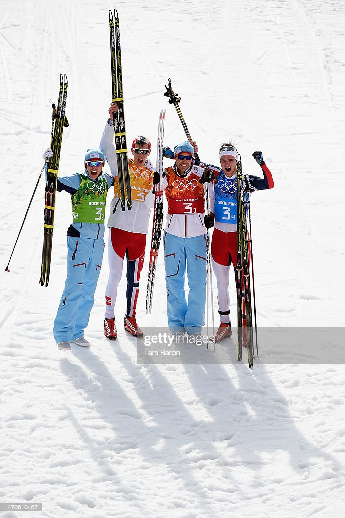 Gold medalists Magnus Hovdal Moan (2R), Haavard Klemetsen (L), <a gi-track='captionPersonalityLinkClicked' href=/galleries/search?phrase=Magnus+Krog&family=editorial&specificpeople=8672843 ng-click='$event.stopPropagation()'>Magnus Krog</a> (2L) and Joergen Graabak (R) of Norway celebrate after the Nordic Combined Men's Team 4 x 5 km during day 13 of the Sochi 2014 Winter Olympics at RusSki Gorki Jumping Center on February 20, 2014 in Sochi, Russia.