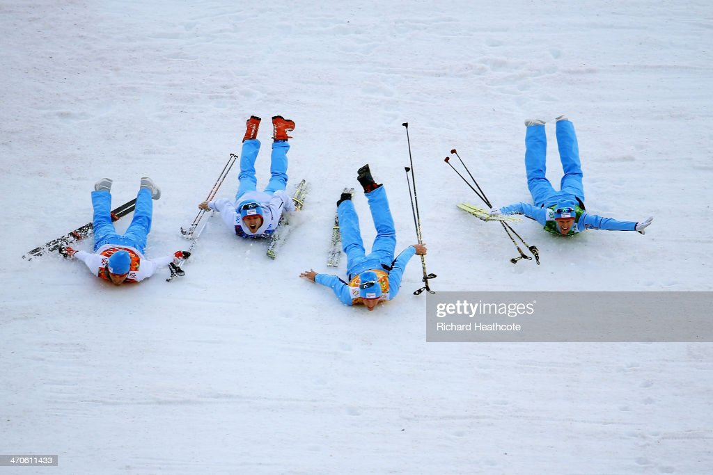Gold medalists Magnus Hovdal Moan, Haavard Klemetsen, Magnus Krog and Joergen Graabak of Norway celebrate after the Nordic Combined Men's Team 4 x 5 km during day 13 of the Sochi 2014 Winter Olympics at RusSki Gorki Jumping Center on February 20, 2014 in Sochi, Russia.