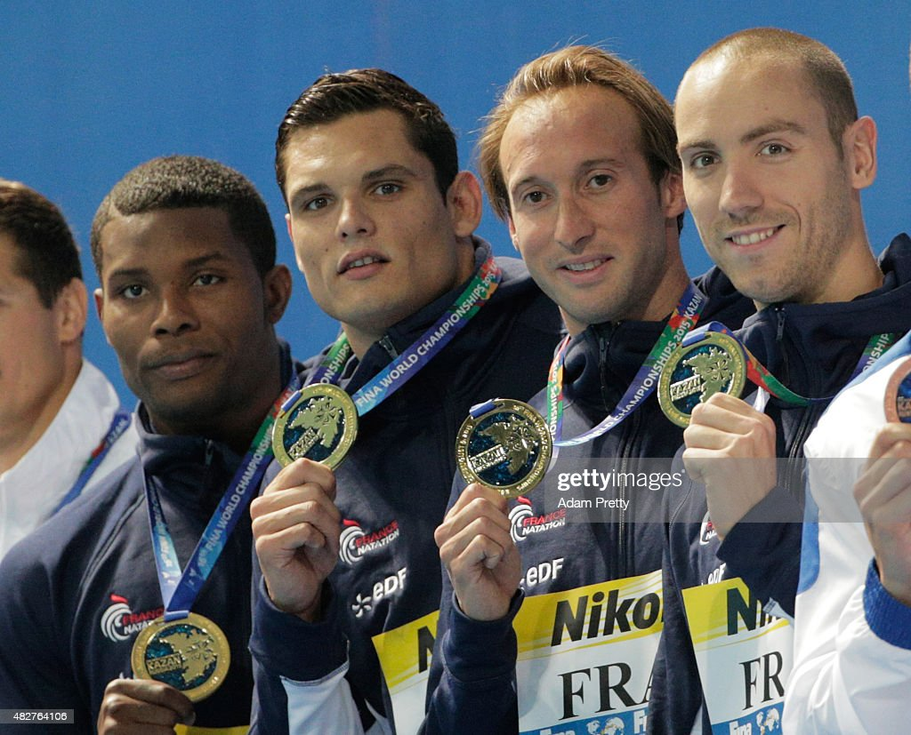 Gold medalists Mehdy Metella, <a gi-track='captionPersonalityLinkClicked' href=/galleries/search?phrase=Florent+Manaudou&family=editorial&specificpeople=6567518 ng-click='$event.stopPropagation()'>Florent Manaudou</a>, <a gi-track='captionPersonalityLinkClicked' href=/galleries/search?phrase=Fabien+Gilot&family=editorial&specificpeople=961879 ng-click='$event.stopPropagation()'>Fabien Gilot</a> and Jeremy Stravius of France poses during the medal ceremony for the Men's 4x100m Freestyle Relay on day nine of the 16th FINA World Championships at the Kazan Arena on August 2, 2015 in Kazan, Russia.