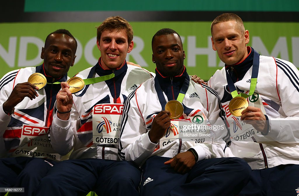 Gold medalists Michael Bingham, Richard Buck, Nigel Levine and Richard Strachan of Great Britain and Northern Ireland pose during the victory ceremony for the Men's 4x400m Relay during day three of European Indoor Athletics at Scandinavium on March 3, 2013 in Gothenburg, Sweden.