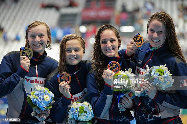 Gold medalists Missy Franklin Leah Smith Katie McLaughlin and Katie Ledecky of the United States pose during the medal ceremony for the Women's...