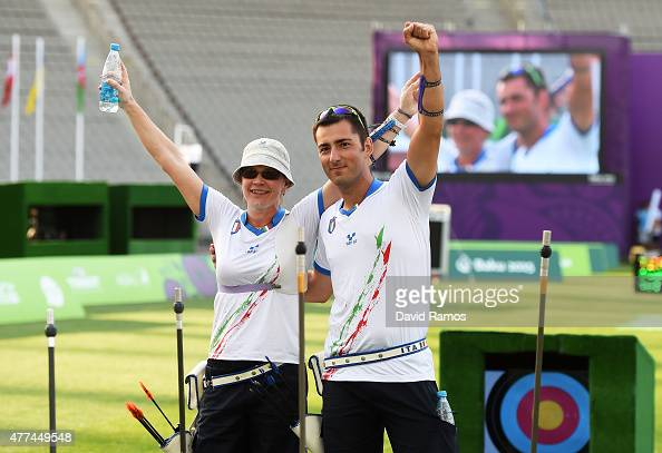 Gold medalists Natalia Valeeva and Mauro Nespoli of Italy celebrate victory during the Mixed Team Archery competition on day five of the Baku 2015...