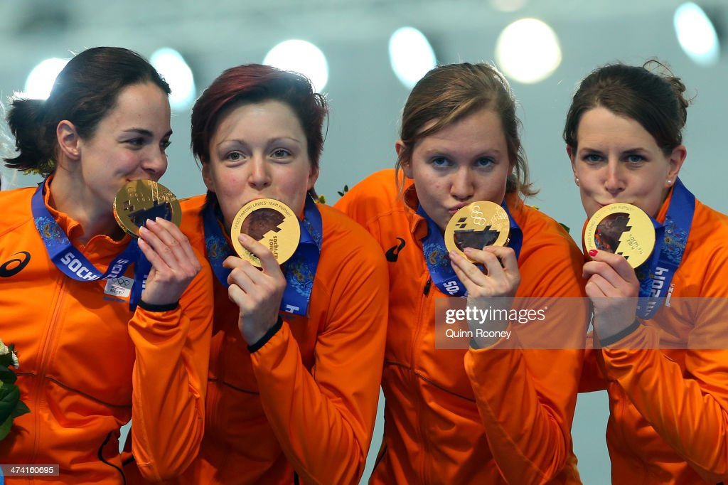 Gold medalists Netherlands celebrate during the medal ceremony for the Speed Skating Women's Pursuit on day fifteen of the Sochi 2014 Winter Olympics at at Adler Arena Skating Center on February 22, 2014 in Sochi, Russia.