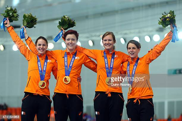 Gold medalists Netherlands celebrate during the medal ceremony for the Speed Skating Women's Pursuit on day fifteen of the Sochi 2014 Winter Olympics...