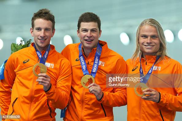 Gold medalists Netherlands celebrate during the medal ceremony for the Speed Skating Men's Team Pursuit on day fifteen of the Sochi 2014 Winter...