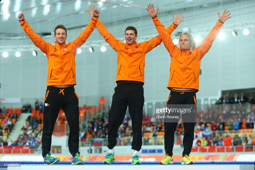 Gold medalists Netherlands celebrate during the medal ceremony for the Speed Skating Men's Team Pursuit on day fifteen of the Sochi 2014 Winter Olympics at at Adler Arena Skating Center on February 22, 2014 in Sochi, Russia.