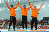 Gold medalists Netherlands celebrate on the podium during the medal ceremony for the Speed Skating Men's Team Pursuit on day fifteen of the Sochi...