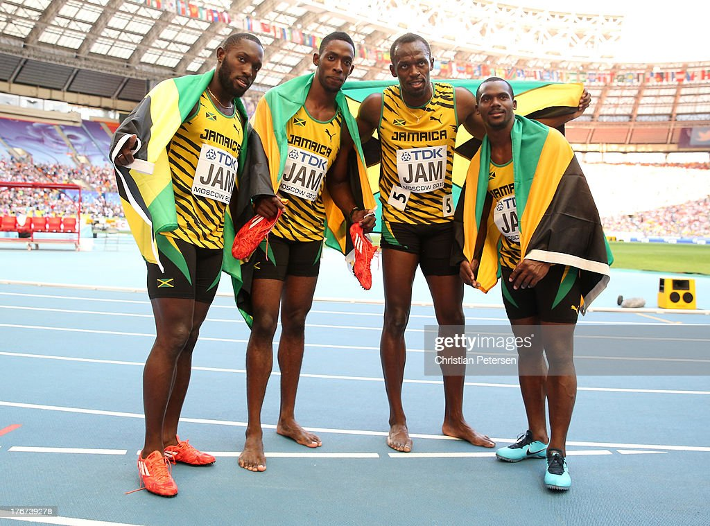 Gold medalists (L-R) <a gi-track='captionPersonalityLinkClicked' href=/galleries/search?phrase=Nickel+Ashmeade&family=editorial&specificpeople=4401503 ng-click='$event.stopPropagation()'>Nickel Ashmeade</a>, <a gi-track='captionPersonalityLinkClicked' href=/galleries/search?phrase=Kemar+Bailey-Cole&family=editorial&specificpeople=5964346 ng-click='$event.stopPropagation()'>Kemar Bailey-Cole</a>, <a gi-track='captionPersonalityLinkClicked' href=/galleries/search?phrase=Usain+Bolt&family=editorial&specificpeople=604196 ng-click='$event.stopPropagation()'>Usain Bolt</a> and <a gi-track='captionPersonalityLinkClicked' href=/galleries/search?phrase=Nesta+Carter+-+Sprinter&family=editorial&specificpeople=4335396 ng-click='$event.stopPropagation()'>Nesta Carter</a> of Jamaica pose after the competes in the Men's 4x100 metres final during Day Nine of the 14th IAAF World Athletics Championships Moscow 2013 at Luzhniki Stadium on August 18, 2013 in Moscow, Russia.