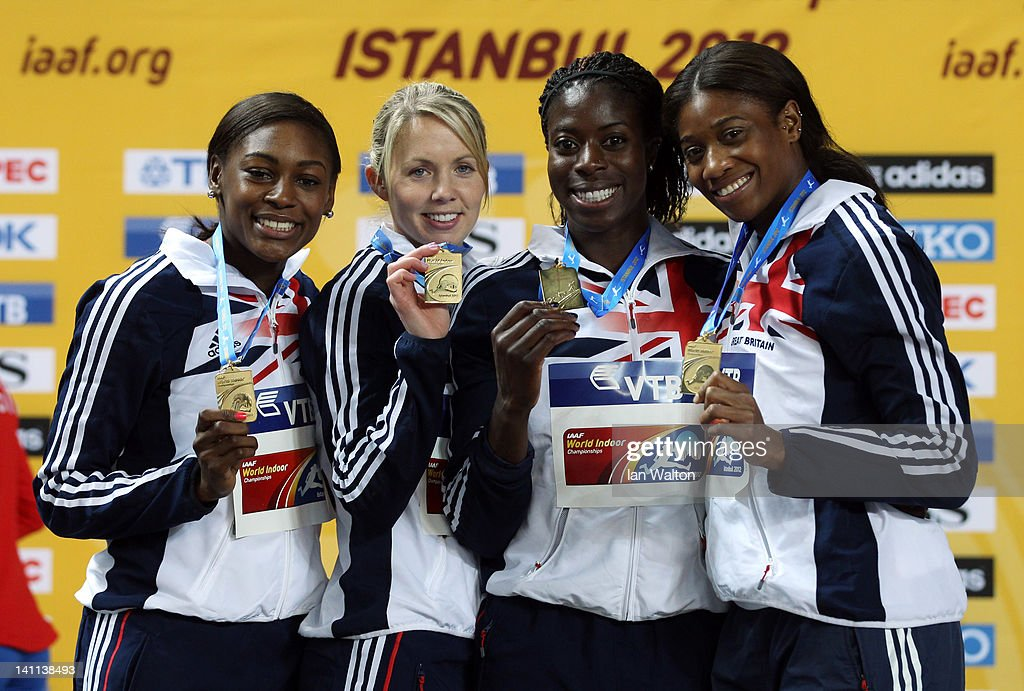 Gold medalists <a gi-track='captionPersonalityLinkClicked' href=/galleries/search?phrase=Perri+Shakes-Drayton&family=editorial&specificpeople=4542235 ng-click='$event.stopPropagation()'>Perri Shakes-Drayton</a>, <a gi-track='captionPersonalityLinkClicked' href=/galleries/search?phrase=Nicola+Sanders&family=editorial&specificpeople=586901 ng-click='$event.stopPropagation()'>Nicola Sanders</a>, <a gi-track='captionPersonalityLinkClicked' href=/galleries/search?phrase=Christine+Ohuruogu&family=editorial&specificpeople=703549 ng-click='$event.stopPropagation()'>Christine Ohuruogu</a> and Shana Cox of Great Britain stand on the podium for the medal ceremony in the Women's 4x400 Metres Final during day three of the 14th IAAF World Indoor Championships at the Atakoy Athletics Arena on March 11, 2012 in Istanbul, Turkey. USA won silver and Russia won bronze.