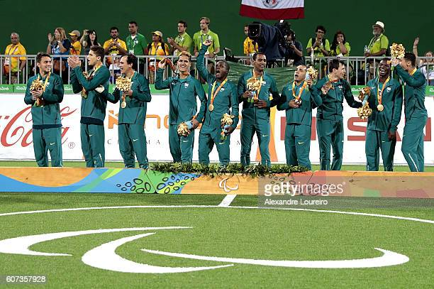 Gold medalists Players of Brazil celebrate on the podium at the medal ceremony for the Football 5aside Men's Gold Medal Match Brazil and Iran at...