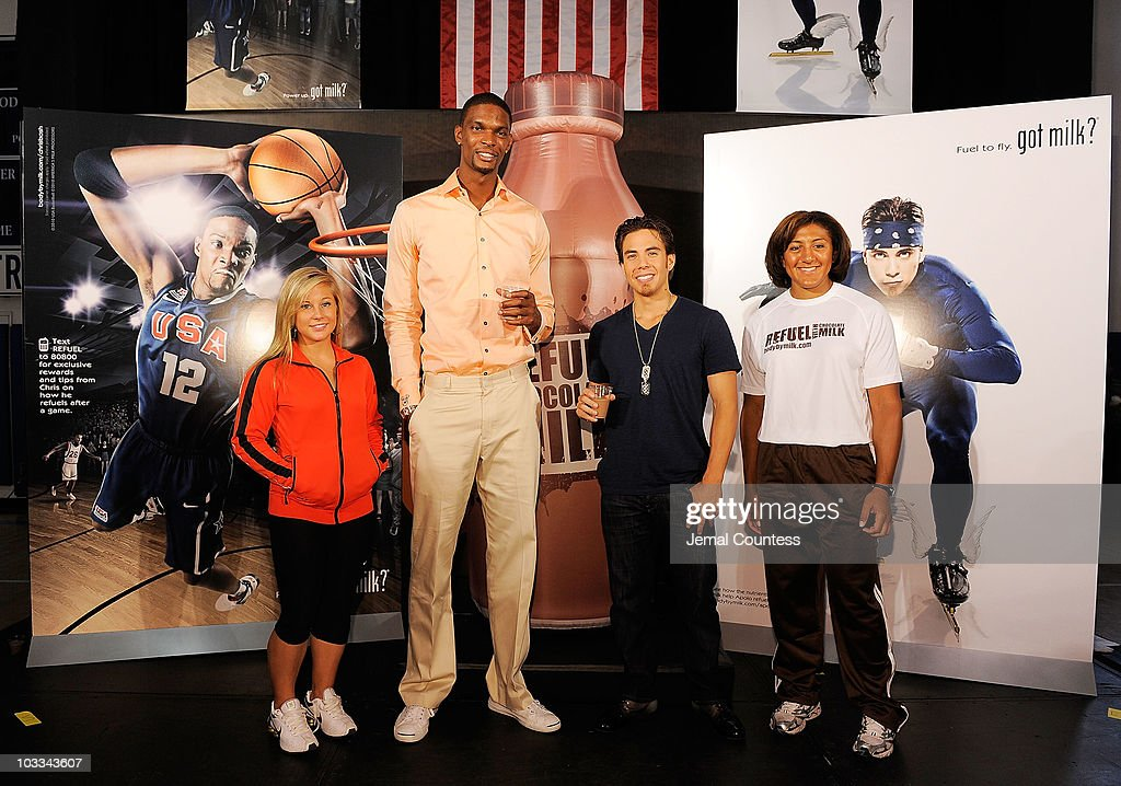 Gold Medalists Shawn Johnson, Chris Bosh, Apolo Anton Ohno and Elana Meyers launch the Refuel America Program and unveils the newest Milk Mustache ads at the 92nd Street Y on August 11, 2010 in New York City. Gold medalists Chris Bosh, Apolo Anton Ohno and Shawn Johnson teamed up today to announce a new campaign highlighting the importance of refueling with lowfat chocolate milk during the two-hour recovery window after exercise.