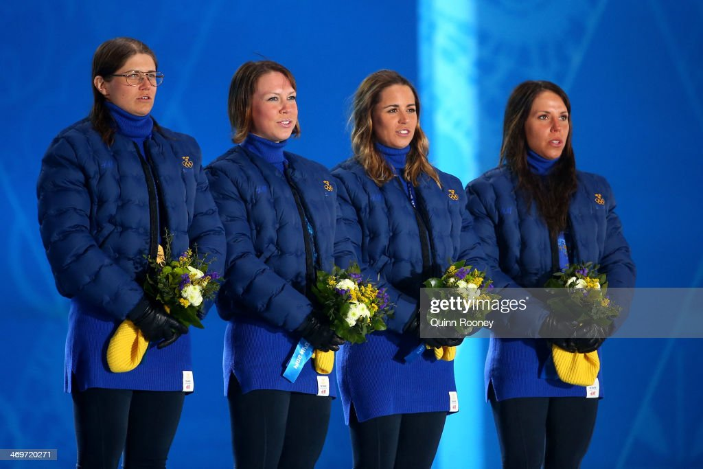 Gold medalists Sweden celebrate on the podium during the medal ceremony for the Women's 4 x 5 km Relay on day 9 of the Sochi 2014 Winter Olympics at Medals Plaza on February 16, 2014 in Sochi, Russia.