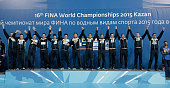 Gold medalists team Serbia poses during the medal ceremony for the Men's Water Polo on day fifteen of the 16th FINA World Championships at the Water...