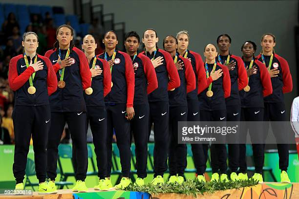 Gold medalists Team USA stand on the podium during the medal ceremony after the Women's Basketball competition on Day 15 of the Rio 2016 Olympic...