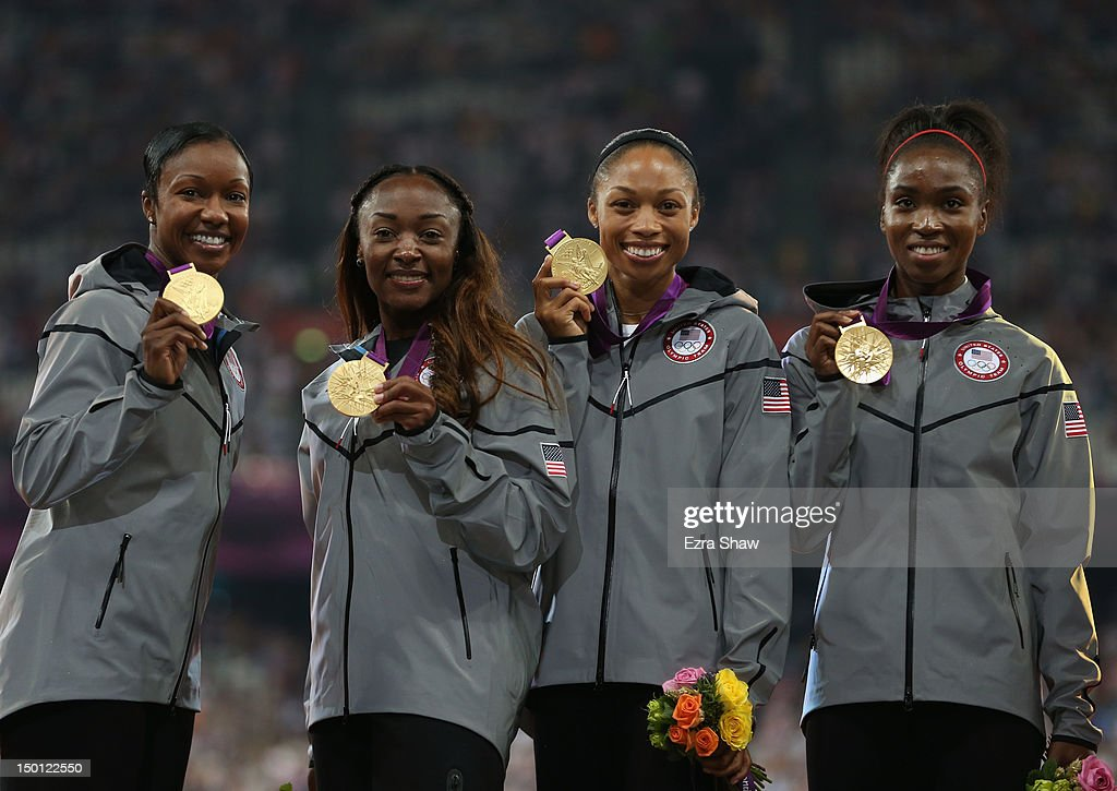 Gold medalists <a gi-track='captionPersonalityLinkClicked' href=/galleries/search?phrase=Tianna+Madison&family=editorial&specificpeople=204429 ng-click='$event.stopPropagation()'>Tianna Madison</a>, <a gi-track='captionPersonalityLinkClicked' href=/galleries/search?phrase=Allyson+Felix&family=editorial&specificpeople=213459 ng-click='$event.stopPropagation()'>Allyson Felix</a>, <a gi-track='captionPersonalityLinkClicked' href=/galleries/search?phrase=Bianca+Knight&family=editorial&specificpeople=2309997 ng-click='$event.stopPropagation()'>Bianca Knight</a> and <a gi-track='captionPersonalityLinkClicked' href=/galleries/search?phrase=Carmelita+Jeter&family=editorial&specificpeople=4472760 ng-click='$event.stopPropagation()'>Carmelita Jeter</a> of the United States pose on the podium during the medal ceremony for the Women's 4 x 100m Relay on Day 14 of the London 2012 Olympic Games at Olympic Stadium on August 10, 2012 in London, England.