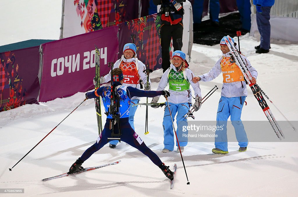 Gold medalists <a gi-track='captionPersonalityLinkClicked' href=/galleries/search?phrase=Tora+Berger&family=editorial&specificpeople=812729 ng-click='$event.stopPropagation()'>Tora Berger</a> of Norway, <a gi-track='captionPersonalityLinkClicked' href=/galleries/search?phrase=Tiril+Eckhoff&family=editorial&specificpeople=10023336 ng-click='$event.stopPropagation()'>Tiril Eckhoff</a> of Norway, <a gi-track='captionPersonalityLinkClicked' href=/galleries/search?phrase=Ole+Einar+Bjoerndalen&family=editorial&specificpeople=206663 ng-click='$event.stopPropagation()'>Ole Einar Bjoerndalen</a> of Norway and <a gi-track='captionPersonalityLinkClicked' href=/galleries/search?phrase=Emil+Hegle+Svendsen&family=editorial&specificpeople=831528 ng-click='$event.stopPropagation()'>Emil Hegle Svendsen</a> of Norway celebrate after the 2 x 6 km Women + 2 x 7 km Men Mixed Relay during day 12 of the Sochi 2014 Winter Olympics at Laura Cross-country Ski & Biathlon Center on February 19, 2014 in Sochi, Russia.
