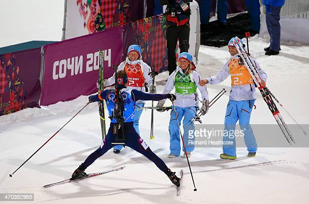 Gold medalists Tora Berger of Norway Tiril Eckhoff of Norway Ole Einar Bjoerndalen of Norway and Emil Hegle Svendsen of Norway celebrate after the 2...