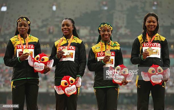 Gold medalists Veronica CampbellBrown of Jamaica Natasha Morrison of Jamaica Elaine Thompson of Jamaica and ShellyAnn FraserPryce of Jamaica pose on...