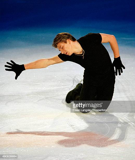 Gold medallist Alexei Yagudin of Russia performing in an exhibition during the Winter Olympic Games in Salt Lake City circa February 2002