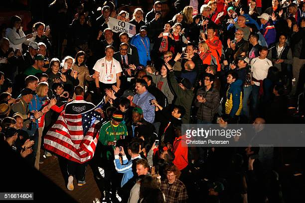 Gold medallist Ashton Eaton of the United States makes his way through the crowd during the medal ceremony for the Men's Heptathlon during day three...