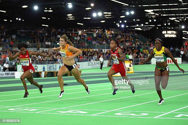 Gold medallist Barbara Pierre of the United States silver medallist Dafne Schippers of the Netherlands MichelleLee Ahye of Trinidad and Tobago and...