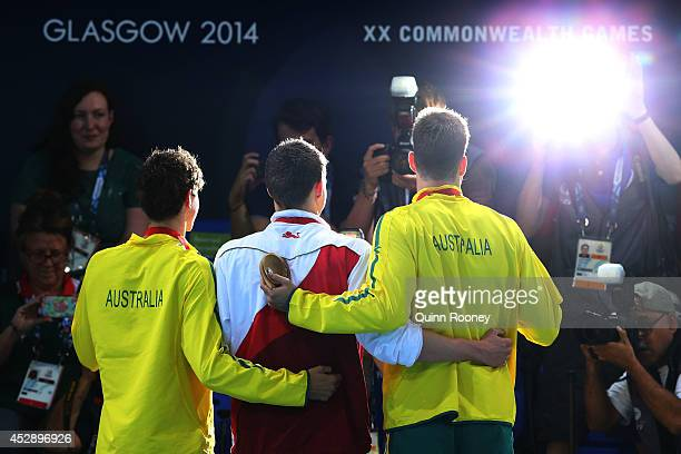 Gold medallist Benjamin Proud of England poses with silver medallist Cameron McEvoy of Australia and bronze medallist James Magnussen of Australia...
