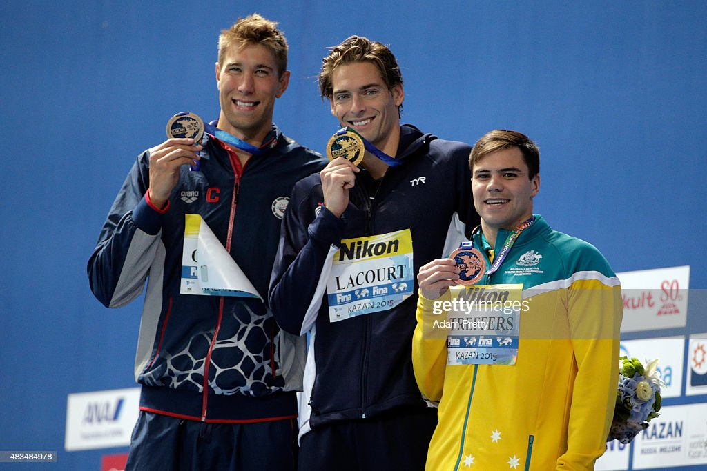 Gold medallist <a gi-track='captionPersonalityLinkClicked' href=/galleries/search?phrase=Camille+Lacourt&family=editorial&specificpeople=4365269 ng-click='$event.stopPropagation()'>Camille Lacourt</a> (C) of France poses with silver medallist <a gi-track='captionPersonalityLinkClicked' href=/galleries/search?phrase=Matt+Grevers&family=editorial&specificpeople=2499373 ng-click='$event.stopPropagation()'>Matt Grevers</a> (L) of the United States and bronze medallist Ben Treffers of Australia during the medal ceremony for the Men's 50m Backstroke Final on day sixteen of the 16th FINA World Championships at the Kazan Arena on August 9, 2015 in Kazan, Russia.