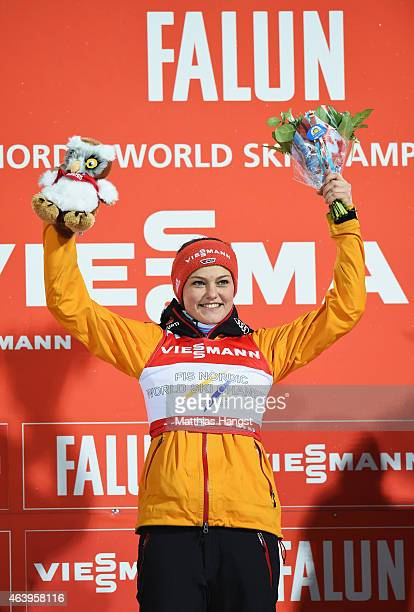 Gold medallist Carina Vogt of Germany celebrates after the Women's HS100 Normal Hill Ski Jumping during the FIS Nordic World Ski Championships at the...