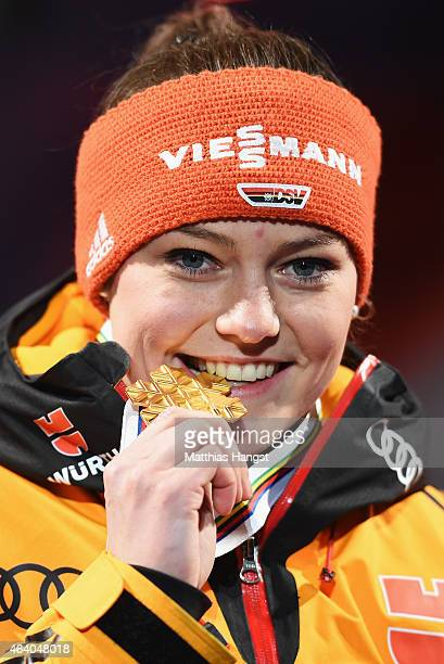 Gold medallist Carina Vogt of Germany poses during the medal ceremony for the Women's HS100 Normal Hill Ski Jumping during the FIS Nordic World Ski...