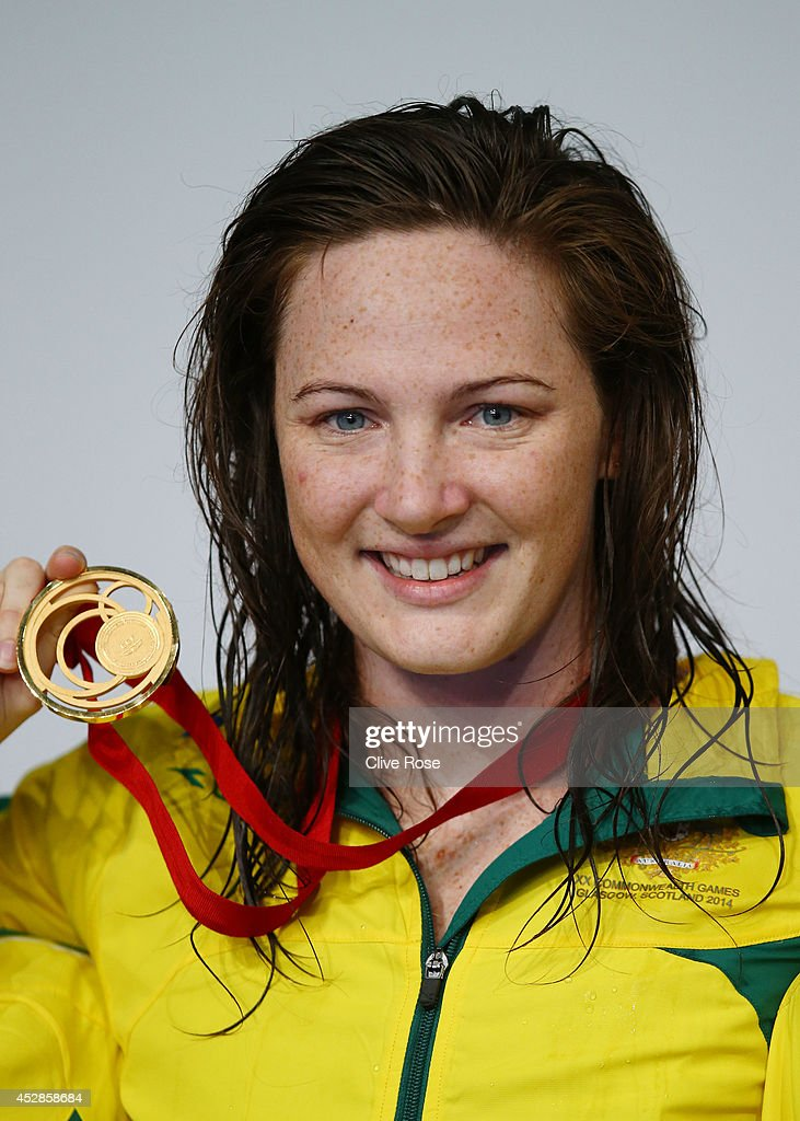 Gold medallist Cate Campbell of Australia poses during the medal ceremony for the Women's 100m Freestyle Final at Tollcross International Swimming...