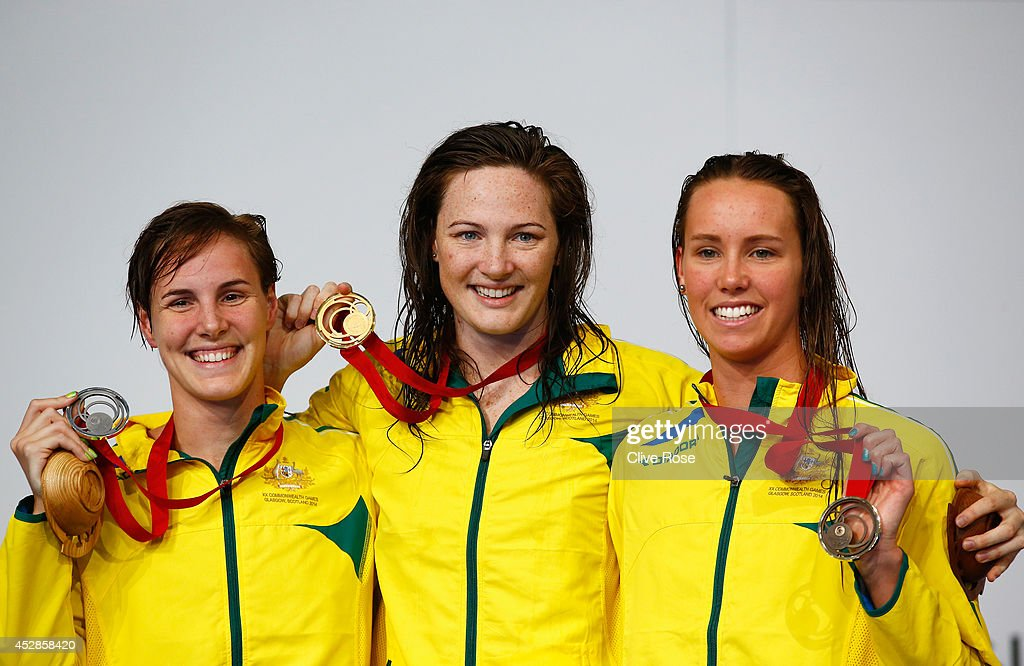 Gold medallist <a gi-track='captionPersonalityLinkClicked' href=/galleries/search?phrase=Cate+Campbell+-+Swimmer&family=editorial&specificpeople=4115465 ng-click='$event.stopPropagation()'>Cate Campbell</a> (C) of Australia poses with silver medallist <a gi-track='captionPersonalityLinkClicked' href=/galleries/search?phrase=Bronte+Campbell+-+Swimmer&family=editorial&specificpeople=7631918 ng-click='$event.stopPropagation()'>Bronte Campbell</a> (L) of Australia and bronze medallist <a gi-track='captionPersonalityLinkClicked' href=/galleries/search?phrase=Emma+McKeon&family=editorial&specificpeople=7147243 ng-click='$event.stopPropagation()'>Emma McKeon</a> of Australia during the medal ceremony for the Women's 100m Freestyle Final at Tollcross International Swimming Centre during day five of the Glasgow 2014 Commonwealth Games on July 28, 2014 in Glasgow, Scotland.