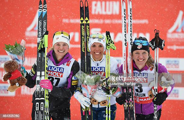 Gold medallist Charlotte Kalla of Sweden poses with silver medallist Jessica Diggins of USA and bronze medallist Caitlin Gregg of USA after the...
