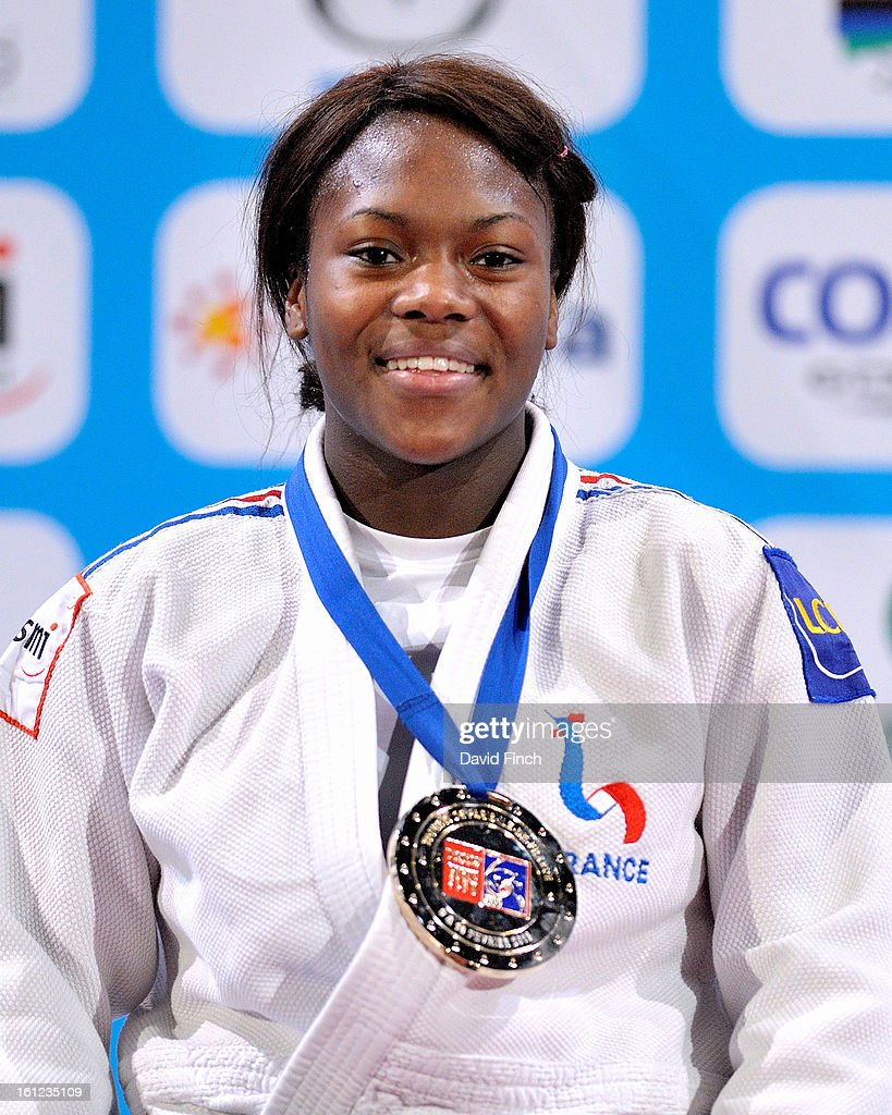 Gold medallist Clarisse Agbegnenou of France during the u63kgs medal ceremony at the Paris Grand Slam on day 1 February 09, 2013 at the Palais Omnisports de Paris, Bercy, Paris, France.