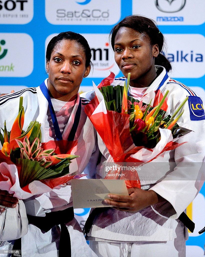 Gold medallist Clarisse Agbegnenou of France (R) relegated Anicka Van Emden of Holland (L) to the silver medal after defeating her in the u63kgs final during the Paris Grand Slam on day 1 February 09, 2013 at the Palais Omnisports de Paris, Bercy, Paris, France.