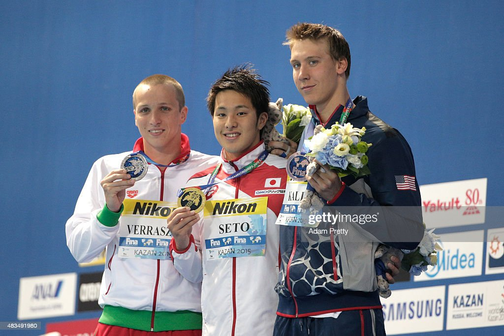 Gold medallist <a gi-track='captionPersonalityLinkClicked' href=/galleries/search?phrase=Daiya+Seto&family=editorial&specificpeople=5666115 ng-click='$event.stopPropagation()'>Daiya Seto</a> of Japan poses with silver medallist <a gi-track='captionPersonalityLinkClicked' href=/galleries/search?phrase=David+Verraszto&family=editorial&specificpeople=4218888 ng-click='$event.stopPropagation()'>David Verraszto</a> of Hungary and bronze medallist <a gi-track='captionPersonalityLinkClicked' href=/galleries/search?phrase=Chase+Kalisz&family=editorial&specificpeople=9496349 ng-click='$event.stopPropagation()'>Chase Kalisz</a> of the United States during the medal ceremony for the Men's 400m Individual Medley Final on day sixteen of the 16th FINA World Championships at the Kazan Arena on August 9, 2015 in Kazan, Russia.