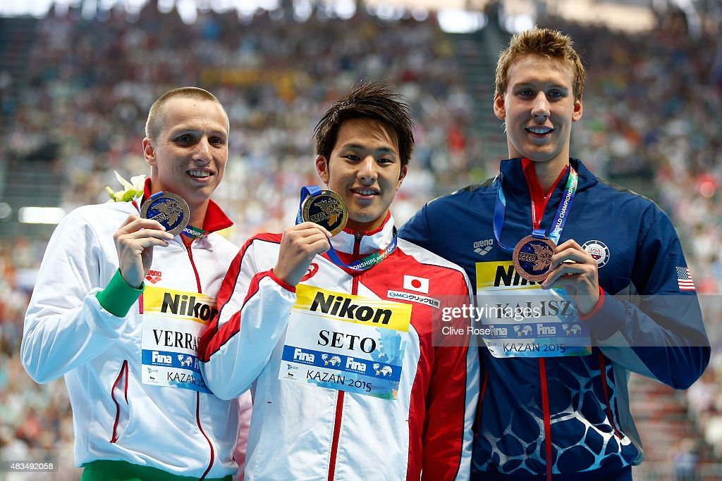 Gold medallist <a gi-track='captionPersonalityLinkClicked' href=/galleries/search?phrase=Daiya+Seto&family=editorial&specificpeople=5666115 ng-click='$event.stopPropagation()'>Daiya Seto</a> of Japan poses with silver medallist <a gi-track='captionPersonalityLinkClicked' href=/galleries/search?phrase=David+Verraszto&family=editorial&specificpeople=4218888 ng-click='$event.stopPropagation()'>David Verraszto</a> of Hungary and bronze medallist Chase Kalisz of the United States during the medal ceremony for the Men's 400m Individual Medley Final on day sixteen of the 16th FINA World Championships at the Kazan Arena on August 9, 2015 in Kazan, Russia.