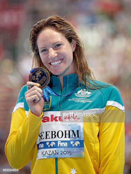 Gold medallist Emily Seebohm of Australia poses during the medal ceremony for the Women's 200m Backstroke Final on day fifteen of the 16th FINA World...