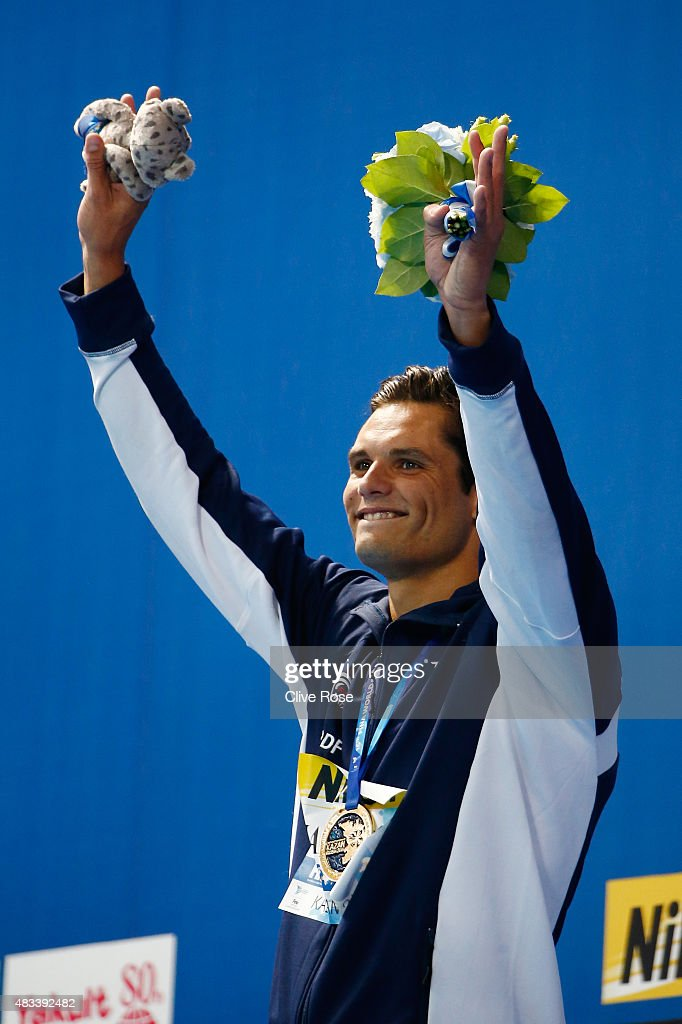 Gold medallist <a gi-track='captionPersonalityLinkClicked' href=/galleries/search?phrase=Florent+Manaudou&family=editorial&specificpeople=6567518 ng-click='$event.stopPropagation()'>Florent Manaudou</a> of France celebrates during the medal ceremony for the Men's 50m Freestyle Final on day fifteen of the 16th FINA World Championships at the Kazan Arena on August 8, 2015 in Kazan, Russia.