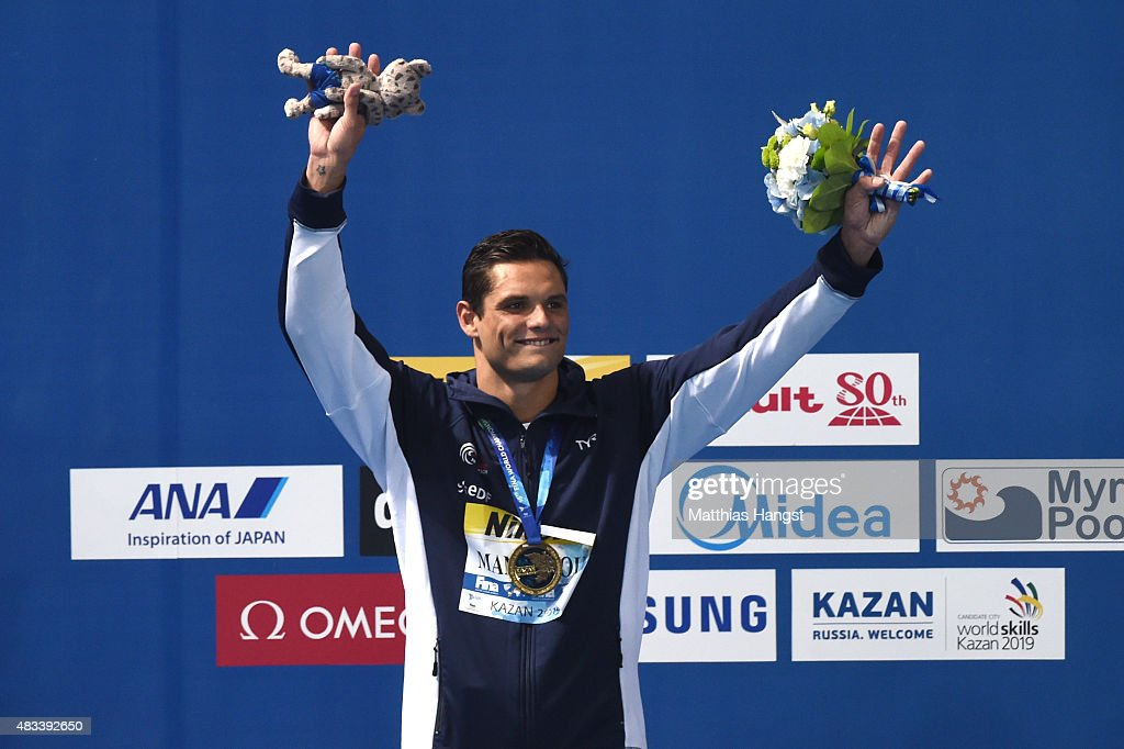 Gold medallist Florent Manaudou of France celebrates during the medal ceremony for the Men's 50m Freestyle Final on day fifteen of the 16th FINA World Championships at the Kazan Arena on August 8, 2015 in Kazan, Russia.