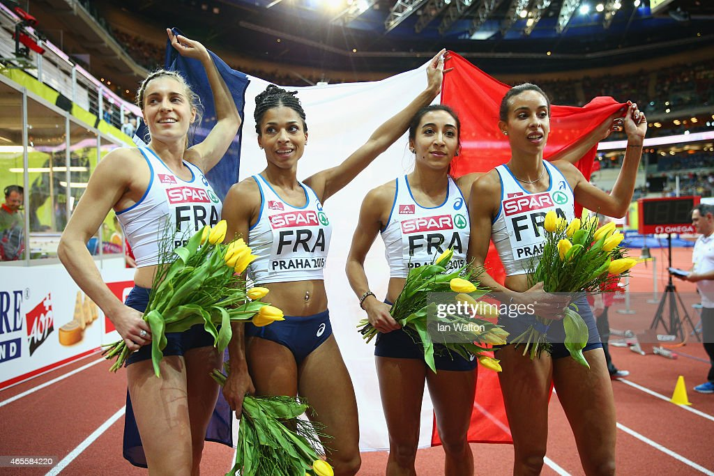 Gold medallist Floria GueiElea Mariama Diarra Agnes Raharolahy and Marie Gayot France pose after the Women's 4x400 metres Final during day three of...