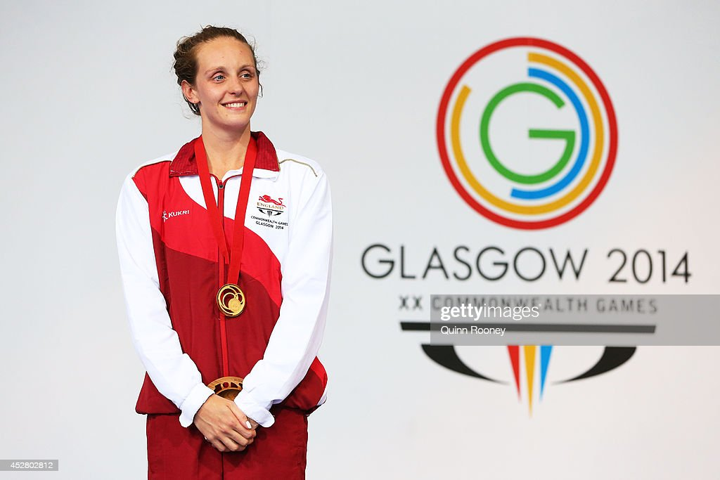 Gold medallist <a gi-track='captionPersonalityLinkClicked' href=/galleries/search?phrase=Francesca+Halsall&family=editorial&specificpeople=1295778 ng-click='$event.stopPropagation()'>Francesca Halsall</a> of England poses during the medal ceremony for the Women's 50m Butterfly Final at Tollcross International Swimming Centre during day four of the Glasgow 2014 Commonwealth Games on July 27, 2014 in Glasgow, Scotland.